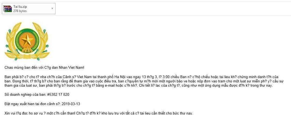 Nội dung mẫu email lừa đảo từ hacker
